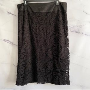 Black Lace Overlay Pencil Skirt Size XL